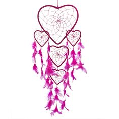 """Dream Catcher ~ Handmade Hot Pink Heart Shape with Pink String 8.5"""" Heart & 24"""" Long. Native American dream catcher bedroom decor is believed to give its owner good dreams. Shop our entire gift collection of handmade dream catchers  from $22.88  http://www.amazon.com/Dream-Catcher-Handmade-Heart-String/dp/B00MP78JV8/ref=sr_1_60?m=A2NNK9JTBO5J9L&s=merchant-items&ie=UTF8&qid=1428556202&sr=1-60"""