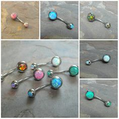 Belly button rings with fire opal belly button jewelry available in white, turquoise blue, light green, pink or multi color. There are fire opals Opal Belly Ring, Belly Rings, Belly Button Jewelry, Belly Button Rings, Button Jewellery, Unique Body Piercings, Bellybutton Piercings, Aromatherapy Jewelry, Belly Bars