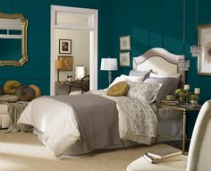October's Color of the Month, Blue Sherwin Williams Peacock (SW 0064), makes a proud statement in any room. What do you think of this jewel-toned beauty? Blue Peacock (SW 0064) creates a vintage, romantic room when paired with white furnishings and mustard-colored accents.