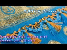 DIY: Saree Kuchu - Learn how to make beautiful arch crochet design / Saree Kuchu with double color tassels for bridal sarees and normal sarees. Saree Tassels Designs, Saree Kuchu Designs, Crochet Designs, Saree Blouse, Crochet Stitches, Design Trends, Embroidery Designs, Crochet Necklace, Make It Yourself