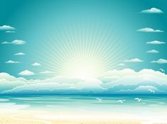 Nature sunrise beach with clouds background of vector graphic set