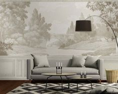 A selection of some beautiful landscape wallpaper murals, trompe l'oeil and high-end murals. Non-woven panoramic wallpapers made in France French Wallpaper, Scenic Wallpaper, Antique Wallpaper, Print Wallpaper, Home Wallpaper, Countryside Wallpaper, Beautiful Landscape Wallpaper, French Walls, Grisaille