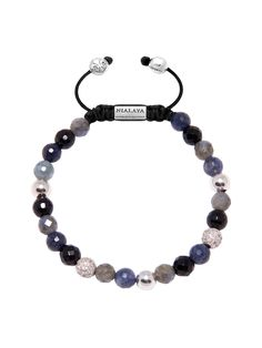 Women's Beaded Bracelet with Sapphire, Agate and Labradorite