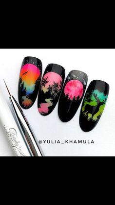Simple Nail Designs, Beautiful Nail Designs, Beautiful Nail Art, Nail Art Designs, Daisy Nail Art, Daisy Nails, Silhouette Nails, Manicure Pictures, Fun Nails