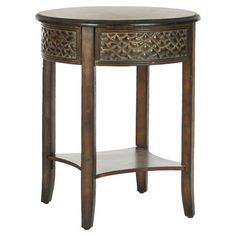 Birch wood side table with a lower display shelf and textured detail.   Product: Side tableConstruction Material: Bi...