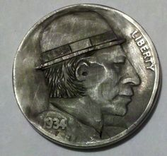 "Hobo Nickel Folk Art Buffalo Nickel Classic Hobo by ""Sue"" 