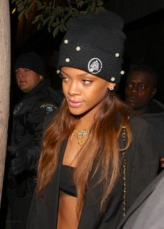 Rihanna and SILVER SPOON ATTIRE - MESH BOW BEANIE WITH PEARLS Photograph