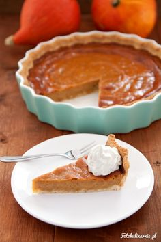 Traditional Pumpkin Pie on Homemade Pie Crust, served with Whipped Cream.