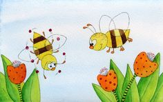 Bees - Watercolour (sold) by Sandra Herrgott
