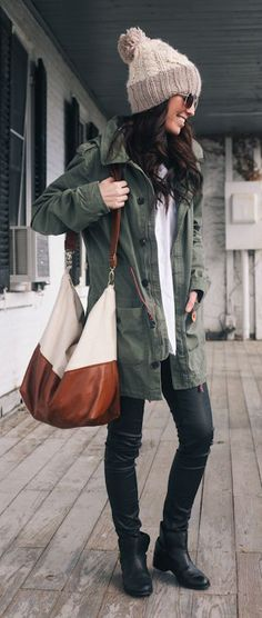 I could do without the beanie, but love the jacket and two-toned bag.