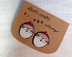 Santa Clause Stud Earrings, Shrink Plastic, Christmas, Winter                                                                                                                                                                                 More