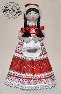 кукла-пакетница из хлопка и льна