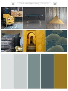Inchyra blue and ochre Just love this combination of Farrow and Ball's Inchyra blue and ochre – fabulous pop of colour. Must mention the stylish Hoxton chair by Graham and Green and the classic leather coffee table by Bethan Gray.