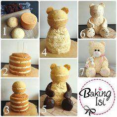 Making of how to Tutorial Teddy bear cake Bär Torte (Bake Treats Parties) Teddy Bear Cakes, Teddy Bears, Teddy Bear Birthday Cake, Birthday Cakes, Birthday Recipes, Birthday Favors, Cake Shapes, Sculpted Cakes, Animal Cakes