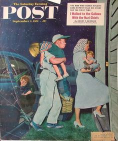 Post cover, 1951 // George Hughes (1900-1990) I remember pretending to be asleep and waiting for Dad to bring us in! :)