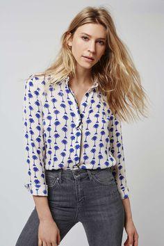 Palm Print Long Sleeve Shirt - Topshop
