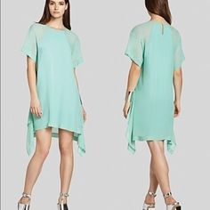 """BCBG maxazria """"Sharon dress"""" Brand new with tags. Light aqua blue color. Polyester on outside and silk on inside. Will fit an XS- medium BCBGMaxAzria Dresses Asymmetrical"""