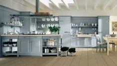 wohnideen für die küche landhaus stil hellblau weiße decke