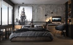 4 Apartments That Turn Up The Dial On Industrial Style Industrial Loft, Industrial Bedroom Design, Room Interior Design, Vintage Industrial Decor, Interior Ideas, Bedroom Inspo, Closet Bedroom, Master Bedroom Design, Dream Bedroom
