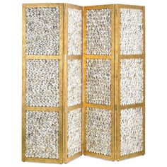 Bring the beach inside with the Margate Folding Screen from Currey and Company! This nautical design, showcasing oyster shells, serves as a divider and/or as a stunningly artistic visual when placed in a strategic area of a room. Decor, Rough Luxe, Burke Decor, Screen Design, Room Divider, Room Screen, Accent Furniture, Folding Screen, Home Decor