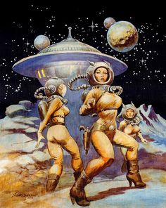 """Dedicated to all things """"geek retro:"""" the science fiction/fantasy/horror fandom of the past including pin up art, novel covers, pulp magazines, and comics. Arte Sci Fi, Sci Fi Art, Sci Fi Kunst, Comic Kunst, Fantasy Kunst, Fantasy Art, Space Fantasy, Heroine Marvel, Cover Art"""