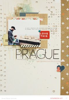 """Lovely scrapbook LO, """"Prague,"""" by Ania-Maria Wolniak. Studio Calico. She is so super-talented. Travel-themed scrapbook page."""
