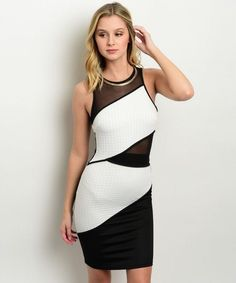 Sexy Form Fitting Black & White Bodycon Mesh Party Dress - New Style - Club Junior Dresses, Fast Fashion, Clubwear, New Dress, Party Dress, Mesh, Black And White, Shopping, Women