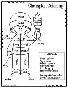 Winter Games Parts of Speech Coloring  - pinned by @PediaStaff – Please Visit ht.ly/63sNtfor all our pediatric therapy pins