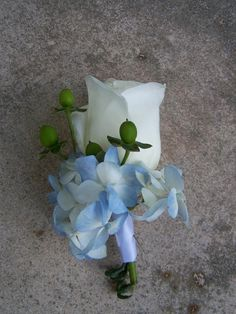 Groom's Boutonnière: white rose, blue hydrangea, green hypericum berries