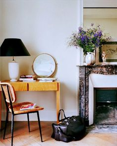 Home Office with Marble Fireplace//Moving in Together? 9 Decorating Tips for Couples