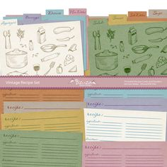 Printable for recipe cards and dividers. I really need to organize my recipes! Recipe Folder, Printable Recipe Cards, Recipe Organization, Free Graphics, Meal Planner, Organic Recipes, Recipe Box, Recipies, Dividers