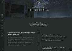 Loads of neat CSS load transitions as you scroll down this WordPress integrated One Pager for luxury members directory, 'Beyond Bespoke'. The responsive adaption is quite impressive considering the volume of content including several infographics. Web Design, One Page Website, Ui Inspiration, The Marketing, First Page, Cool Websites, Bespoke, Luxury, Digital