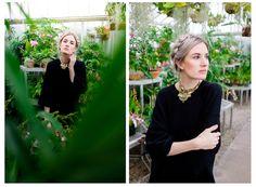 Beautiful model with silver hair in greenhouse   Duke Farms   NJ Wedding Photographer   Elyse Jankowski Photography