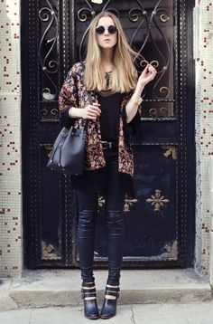 Dark Florals: Floral Kimono, Skinny Belle jeans, Signature Mini Bucket Bag, Lucas III Booties and feathered necklace - By Katerina Kraynova - http://ninjacosmico.com/20-grunge-outfit-ideas-may/