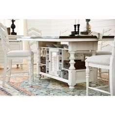 Charleston Counter-Height Dining Table and 4 Stools - White Counter Height Kitchen Table, Dining Table With Storage, Counter Height Stools, Kitchen Tables, Dining Room Sets, Dining Room Table, Dining Area, Value City Furniture, Furniture Design