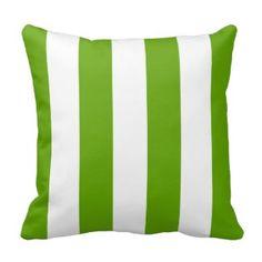 Lime Green Awning Stripe Throw Pillows - Green Throw Pillows