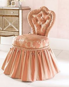 bedroom vanity chair option : French Madame: Pretty in Pink Shabby Chic Furniture, Shabby Chic Decor, Vanity Stool, Vanity Tables, Vanity Chairs, Vanity Area, Shades Of Peach, Vintage Vanity, Pink Vanity