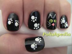 Welcome to YUMMY NAILS nail art images all at your fingertips! Featuring amateur & professional nail art from all over the world Cat Nail Art, Animal Nail Art, Cat Nails, Nail Art Diy, Cute Halloween Nails, Halloween Nail Designs, Halloween Cat, Halloween Halloween, Black Nail Designs