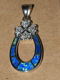 blue fire opal Cz necklace pendant jewelry gemstone silver Flower Horse Shoe G6