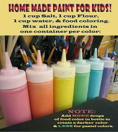 How To: Make homemade paint for kids projects. Attached is a link with a bottle that includes a lid/cap to store paints for later use.