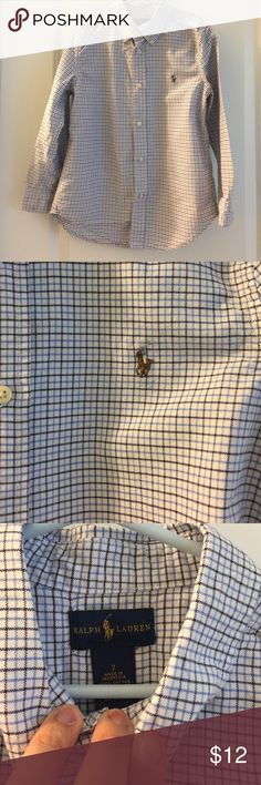 Boys Ralph Lauren polo 7 button shirt 🎊Host Pick EUC boys size 7 button down Ralph Lauren shirt. White with navy plaid. Great condition. No holes rips stains or tears. Ralph Lauren Shirts & Tops Button Down Shirts