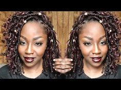 How To Crochet Gypsy Faux Loc Bob Bobbi Boss Nu Loc - smawale. Curly Faux Locs Crochet, Curly Crochet Hair Styles, Crochet Braid Styles, Curly Hair Styles, Natural Hair Styles, Crochet Goddess Faux Locs, Crotchet Braids, Crochet Faux Locs Styles, Box Braids Hairstyles