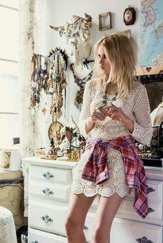 Cheeky Fashion | crochet w plaid bohemian style gypsy chic