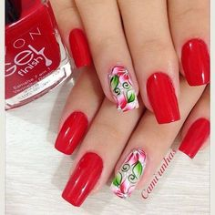 Decorated Nails 2017 photos of delicate and perfect nails Fabulous Nails, Perfect Nails, Mani Pedi, Pedicure, Nails 2017, Red Nail Designs, Flower Nails, Cookies Et Biscuits, Red Nails