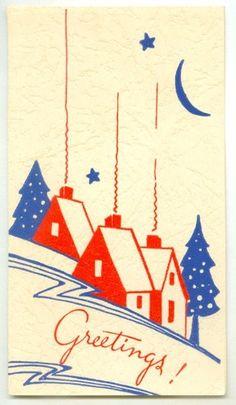 Art Deco Christmas Homes Postcard