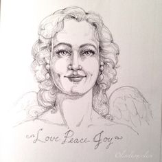 """Daily Angel Challenge #17 ""Love, Peace, Joy"" #dailyangel #angel #pencil #drawing #love #peace #joy"""