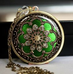 Upcycled Vintage Locket. Green Framed Brass Locket. Gorgeous. I like the ones with really long chains...