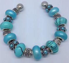 European style bracelet charm braceletblue silver by Graceandliz, $15.00