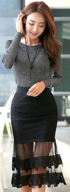 StyleOnme_See-through Lace Flounced Skirt #black #lace #seethrough #sheer #chic…