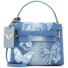 Valentino Denim Handbag found on Polyvore featuring bags, handbags, shoulder bags, blue, purses, valentino, blue shoulder handbags, blue shoulder bag, hand bags and valentino shoulder bag #valentinopurse